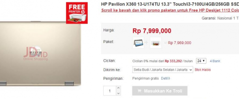 Beli Laptop HP di JD.ID Bisa Gratis Printer